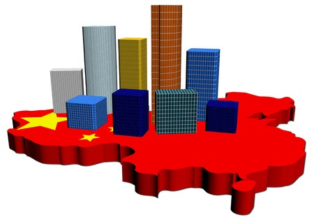 abstract skyscrapers on China map flag illustration