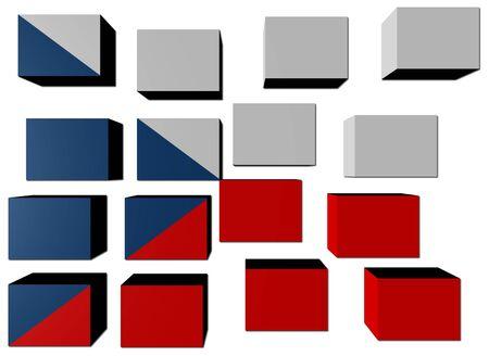 Czech Flag on cubes against white illustration Stock Illustration - 7386270