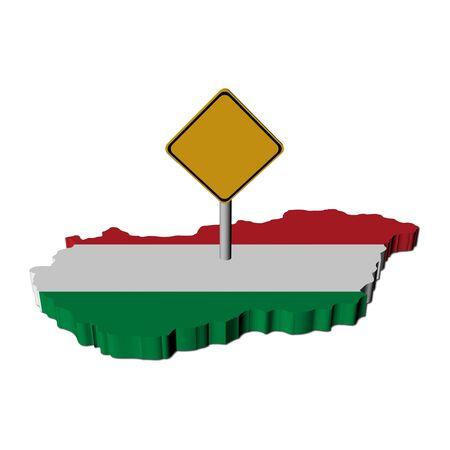 warning sign on Hungary map flag illustration
