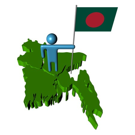 bangladesh: abstract person with flag on Bangladesh map illustration Stock Photo