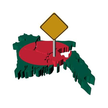 warning sign on Bangladesh map flag illustration