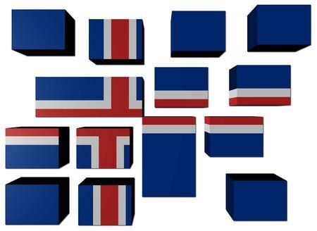 icelandic flag: Bandera de Islandia en cubos contra blanco de ilustraci�n