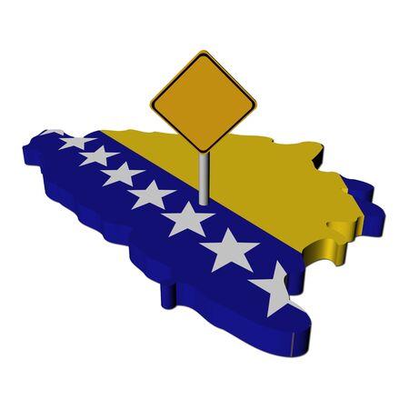bosnian: warning sign on Bosnia map flag illustration