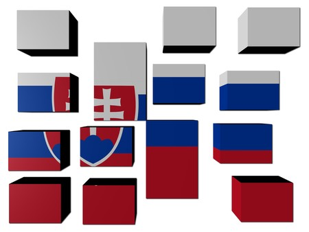 slovakian: Slovakian Flag on cubes against white illustration