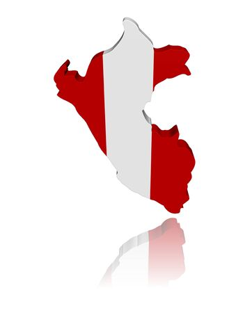 peru map: Peru map flag 3d render with reflection illustration Stock Photo
