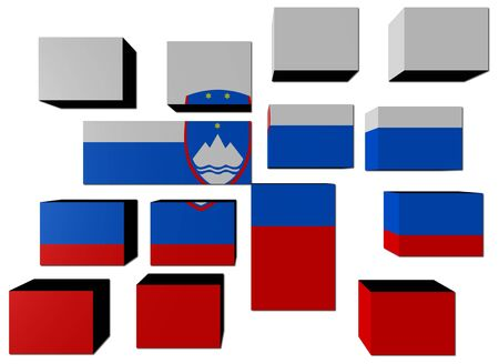 slovenian: Slovenian Flag on cubes against white illustration Stock Photo