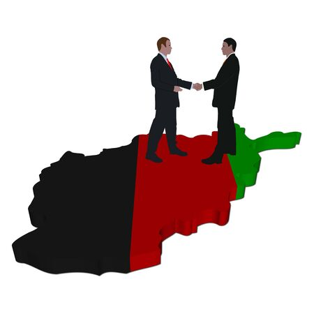 Business people shaking hands on Afghanistan map flag illustration illustration