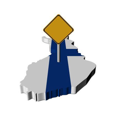 warning sign on Finland map flag illustration