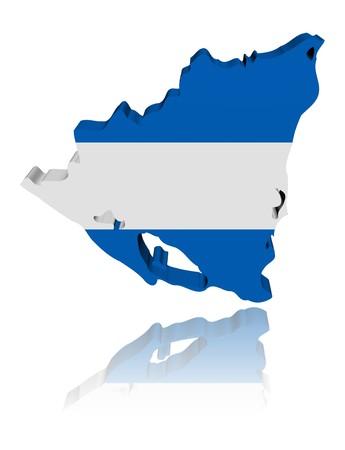 Nicaragua map flag 3d render with reflection illustration illustration