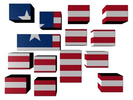 Liberia Flag on cubes against white illustration illustration