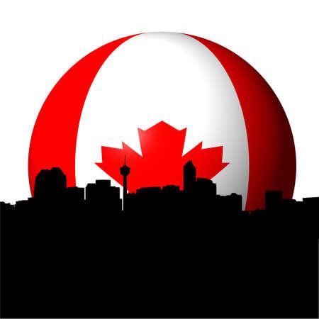 calgary: Calgary skyline with Canadian flag sphere illustration