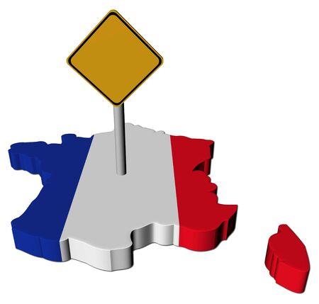 warning sign on France map flag illustration