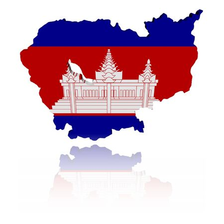 cambodia: Cambodia map flag 3d render with reflection illustration Stock Photo