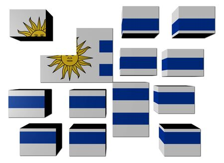 Uruguay Flag on cubes against white illustration Stock Illustration - 7520827