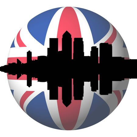 London docklands skyline with British flag sphere illustration illustration