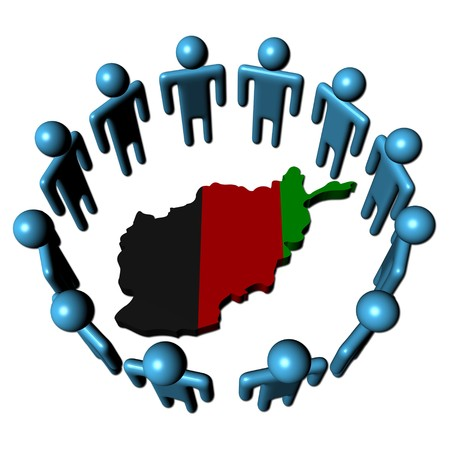 afghan: Circle of abstract people around Afghanistan map flag illustration