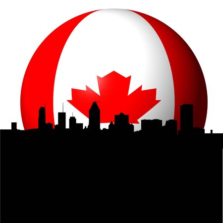 montreal: Montreal skyline with Canadian flag sphere illustration