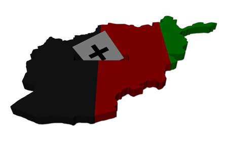 Afghan election map with ballot paper illustration illustration