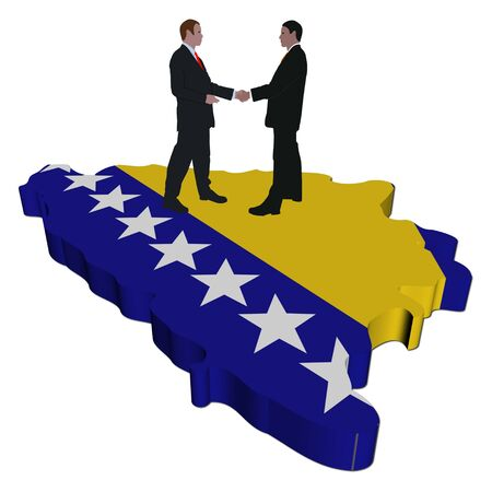 bosnian: Business meeting on Bosnia map flag illustration