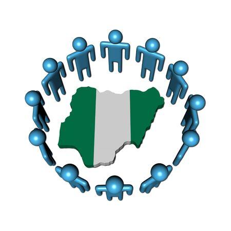 nigeria: Circle of abstract people around Nigeria map flag illustration