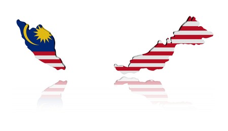 Malaysian map flag 3d render with reflection illustration illustration