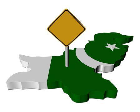 warning sign on Pakistan map flag illustration
