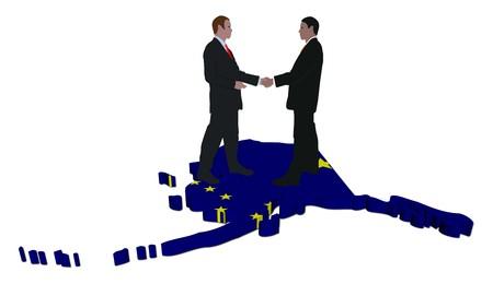 Business people shaking hands on Alaska map flag illustration illustration