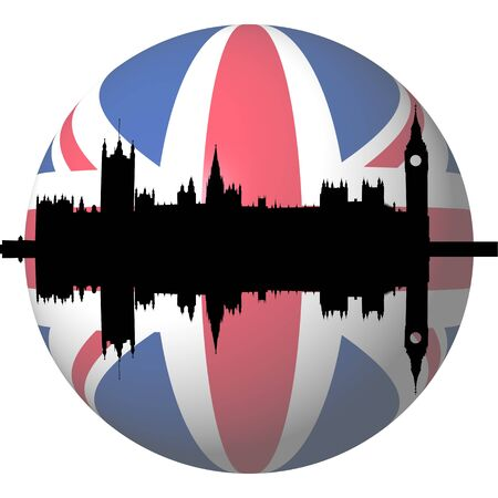 Houses of Parliament London with British flag sphere illustration illustration