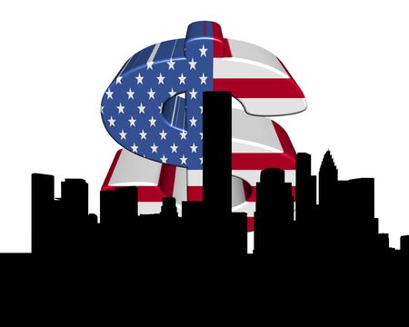 houston: Houston skyline with American flag dollar symbol illustration