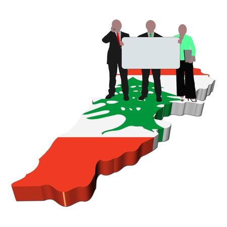 business team with sign on Lebanon map flag illustration illustration
