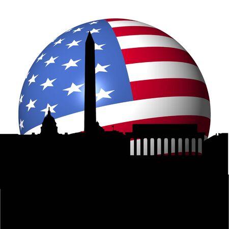 Washington DC skyline with American flag sphere illustration Stock Illustration - 7625050
