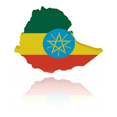 Ethiopia map flag 3d render with reflection illustration illustration