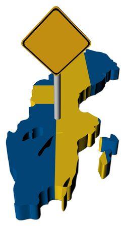 warning sign on Sweden map flag illustration