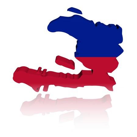 haiti: Haiti map flag 3d render with reflection illustration