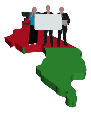 malawi: business team with sign on Malawi map flag illustration