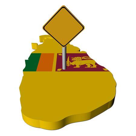warning sign on Sri Lanka map flag illustration