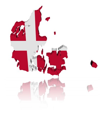 danish flag: Denmark map flag with reflection illustration Stock Photo
