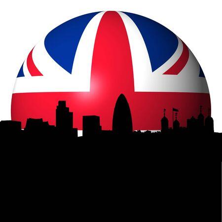London skyline with British flag sphere illustration illustration