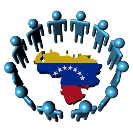 mapa de venezuela: C�rculo de personas abstractas alrededor de ilustraci�n de bandera de mapa de Venezuela