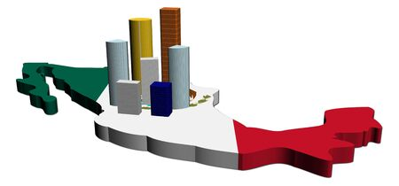abstract skyscrapers on Mexico map flag illustration illustration