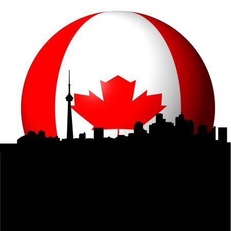 toronto: Toronto skyline with Canadian flag sphere illustration