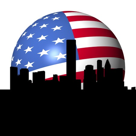 Houston skyline with American flag sphere illustration Stock Illustration - 7661574