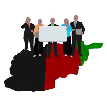 business team on Afghanistan map flag illustration illustration