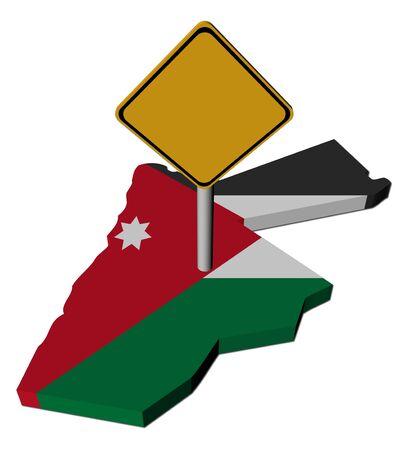 warning sign on Jordan map flag illustration Banco de Imagens