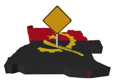 warning sign on Angola map flag illustration
