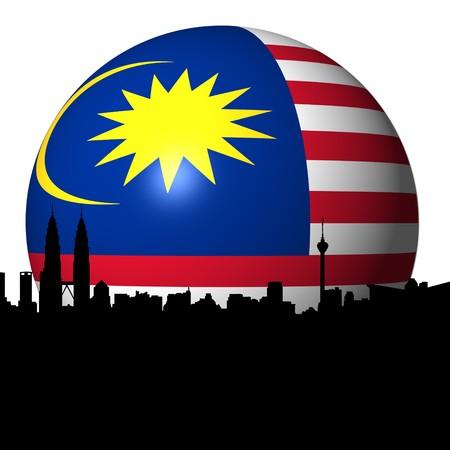 Kuala Lumpur skyline with Malaysian flag sphere illustration illustration