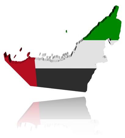 アラブ首長国連邦地図フラグ反射イラストと 3 d のレンダリング