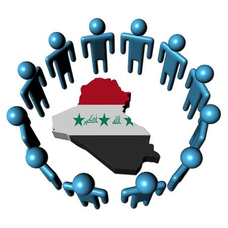 Circle of abstract people around Iraq map flag illustration illustration