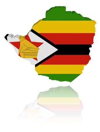 zimbabwe: Bandera de mapa de Zimbabwe con ilustraci�n de reflexi�n  Foto de archivo