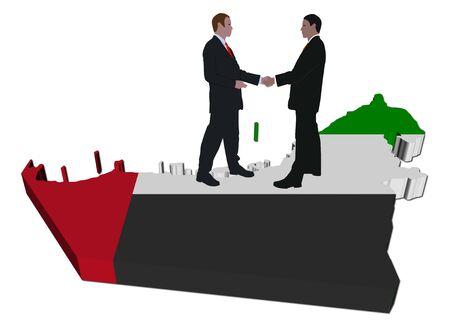 Business people on UAE map flag illustration illustration